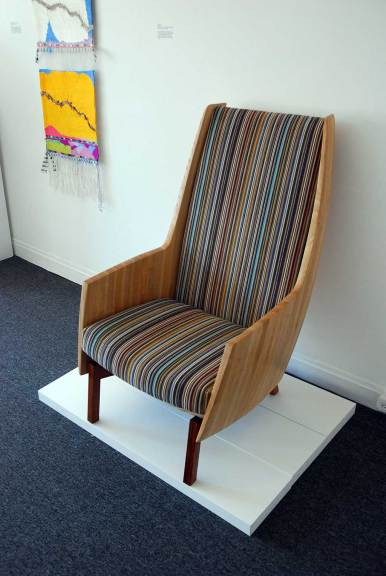 Laura Mays, Ample, 2015. Stave/coopered Ash, Narra, upholstery, shellac finish