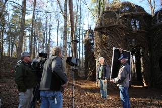 Interviewing Patrick Dougherty in front of A Sight to Behold