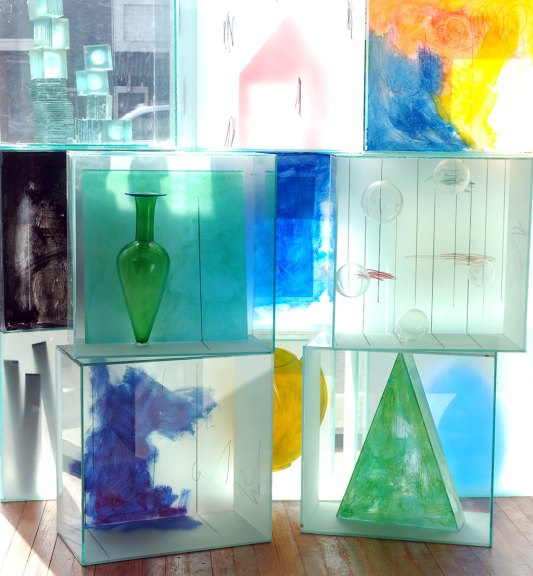 Artist Therman Statom made 13 glass boxes to be displayed in the front window.