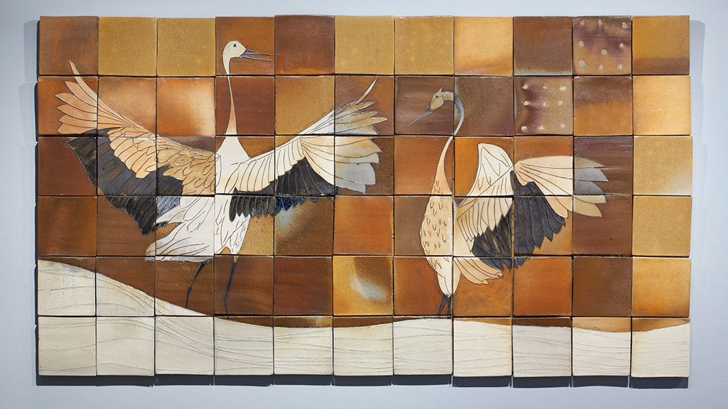 Matthew Krousey, Cranes in Winter Mural. Salt fired stoneware, slips, stains, glaze