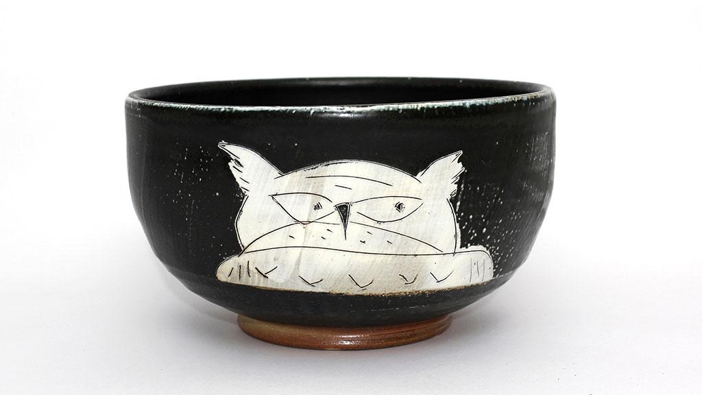 Matthew Krousey, Horned Owl Bowl. Salt fired stoneware, slips, stains, glaze