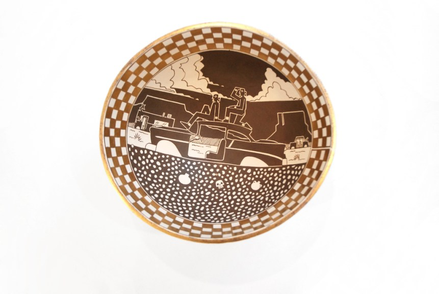 Diego Romero, Chongo Brothers in Broke Car Landscape, c. 2019, glazed and gilded earthenware, IDENTITY, Craft in America