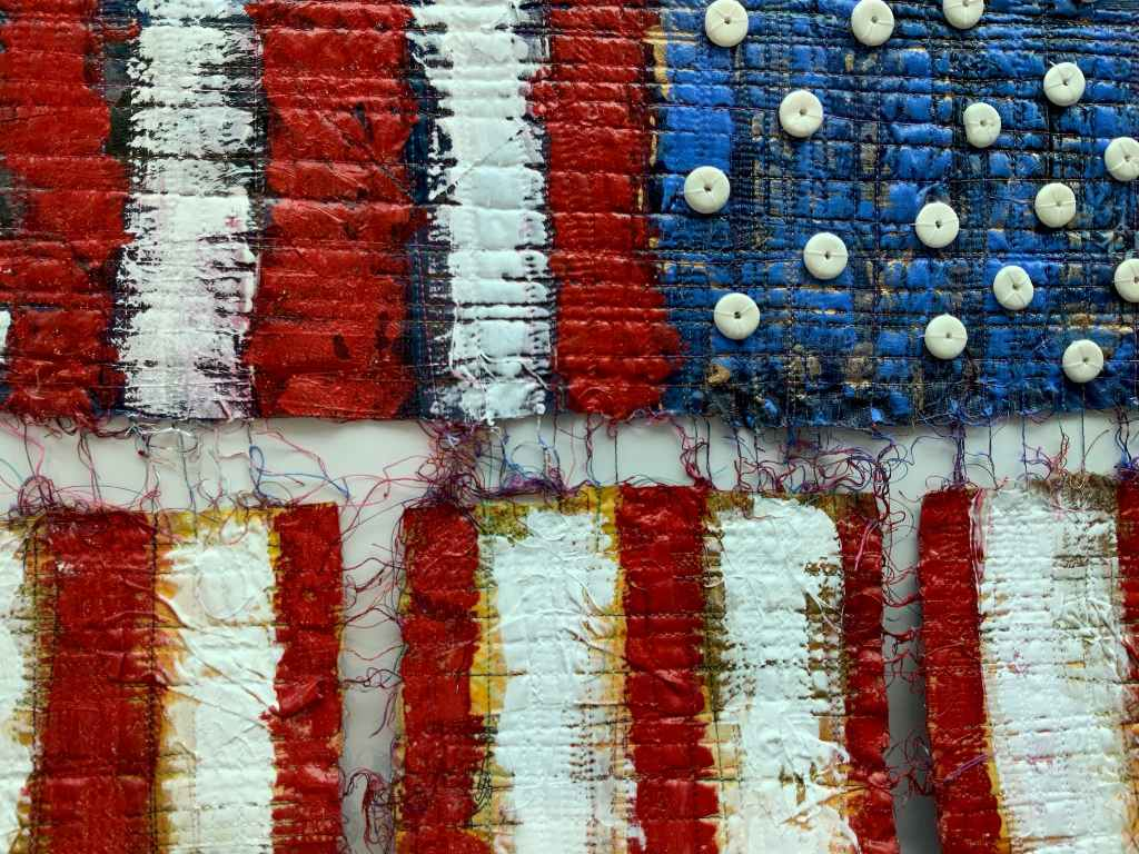Craft in America Center Flag Share 2020 Beyond Nancy Billing, Democracy...Hanging By A Thread I (detail), 2020