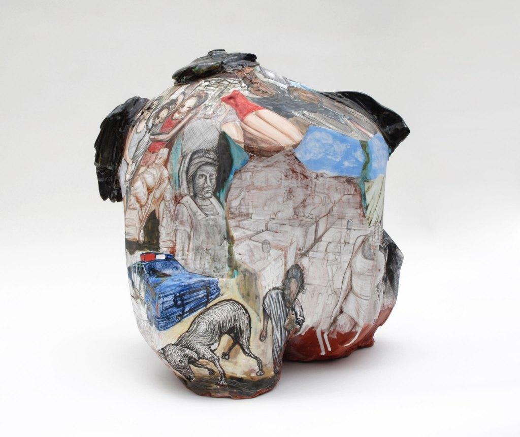 Gerardo Monterrubio, Juanito Alimaña, 2017. Terracotta, under and overglazes, 17.5 x 17 x 14 in. CRAFT IN AMERICA NEIGHBORS