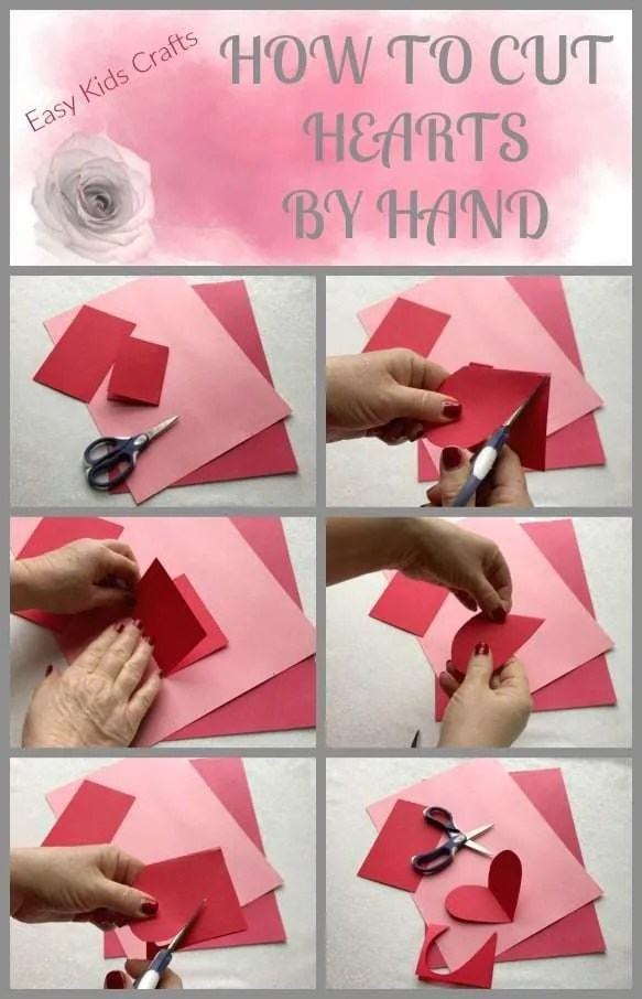 How to cut paper hearts by hand: I have spent many fun filled days with my little one crafting these beautiful red and pink heart. Take the time to teach this cutting skill to your kids.