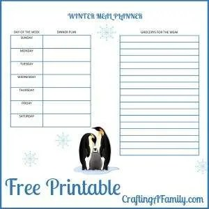 Start the year off by freeing up your time for dinner meals. Print off this beautiful Winter Meal Plan Printable and save time deciding what to eat. Planning ahead saves time and money. I love a beautiful printable to make this task fun.