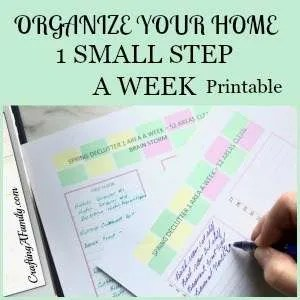 Organize your home once and for all with 1 small area a week printable