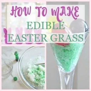 Quick & Easy edible Easter grass is the perfect accent for your Easter table. Just water, food coloring, and sweetened coconut. Using this edible grass you can have any dessert nestled in an edible easter basket theme.