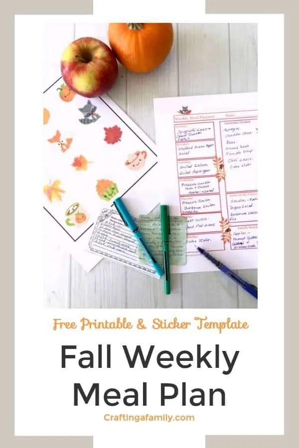 Fall meal plan printable