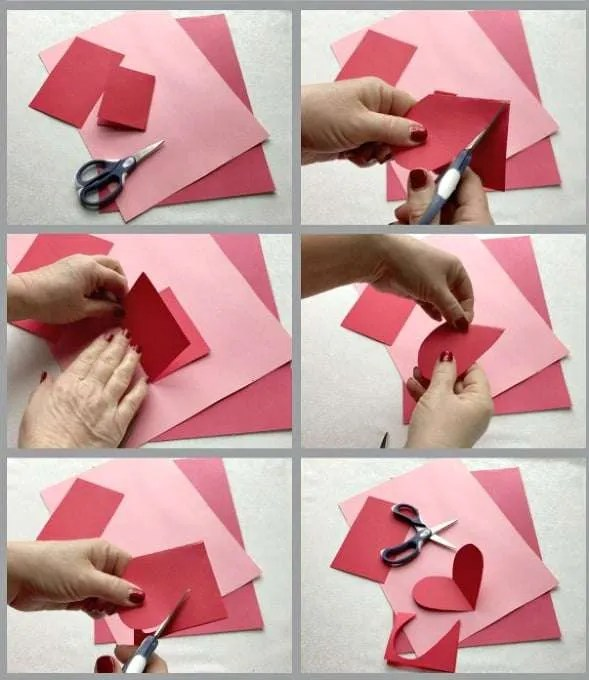 Fun Valentines Party Ideas red and pink construction paper hearts and scissors