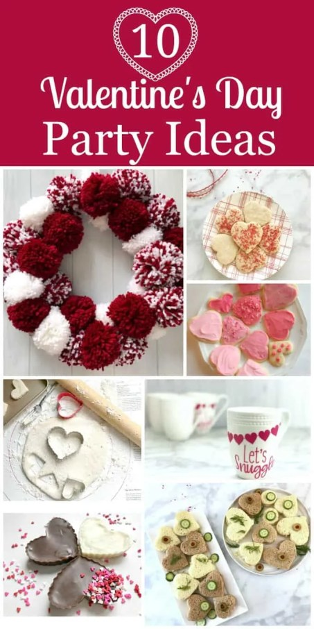 Fun Valentines Party Ideas pom pom wreath, heart cookies heart sandwiches heart candies