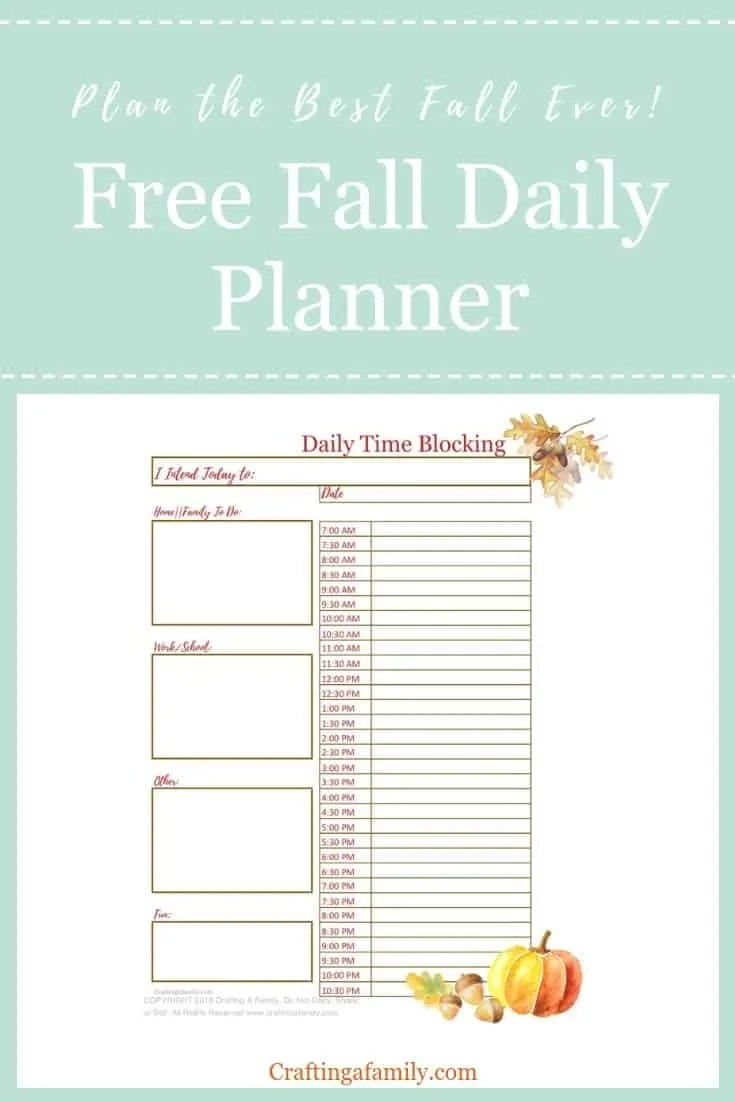 fall daily planner time management worksheet craftingafamily com