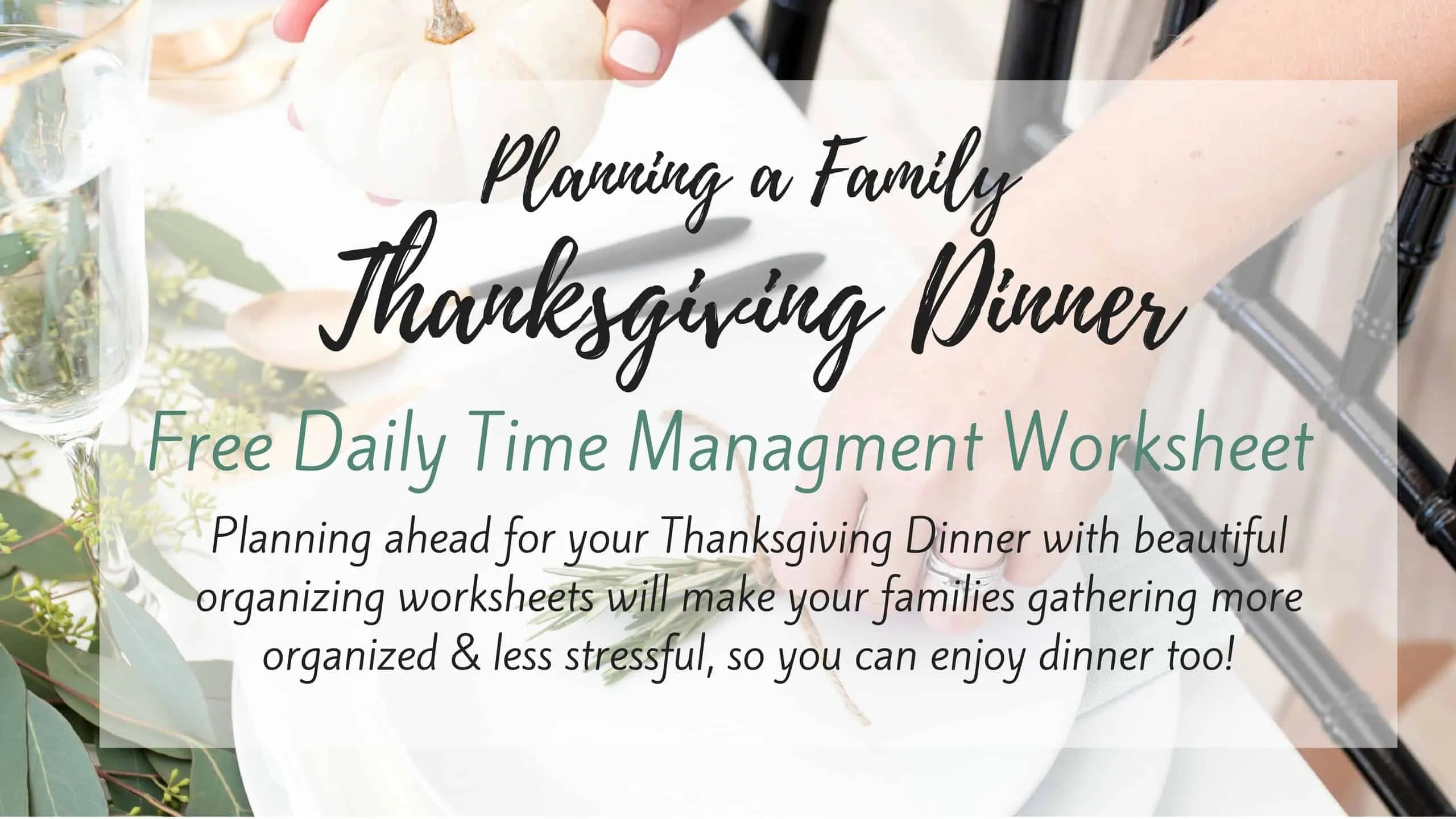 Free Daily Fall Thanksgiving Time Management Worksheet