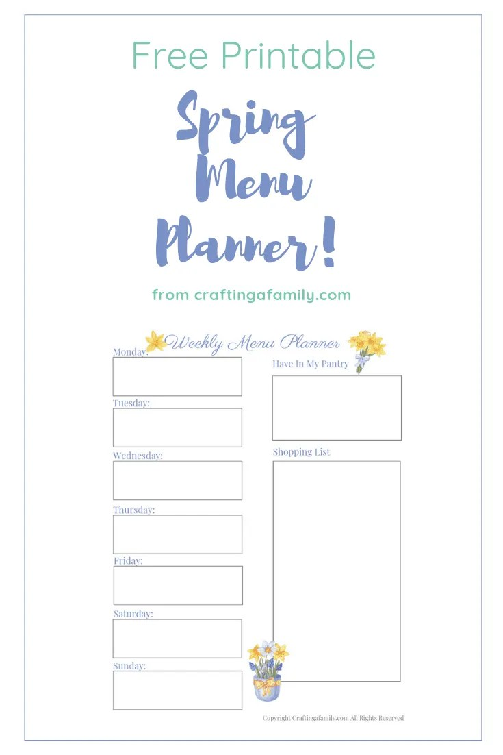 graphic relating to Printable Dinner Planner referred to as Spring Menu Planner Worksheet Absolutely free Printable ~ Composing a Family members