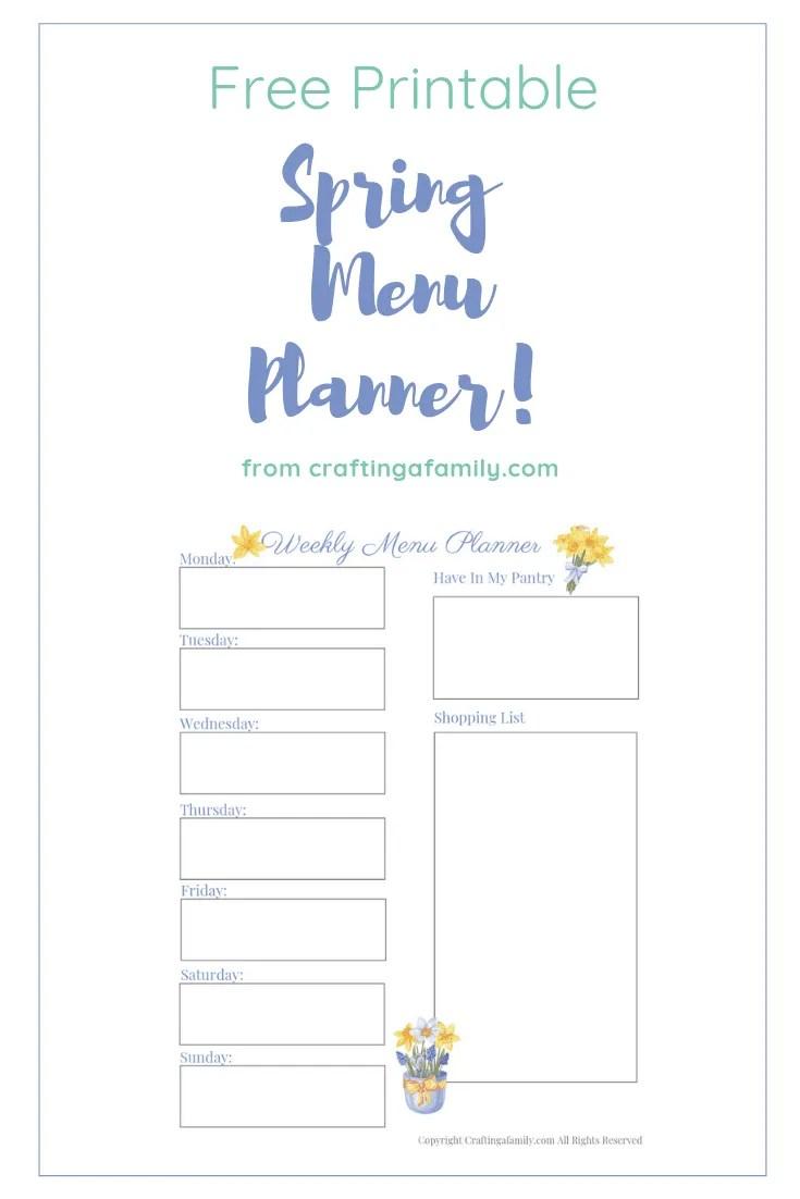 photograph relating to Printable Menu Planner identified as Spring Menu Planner Worksheet Totally free Printable ~ Creating a Household