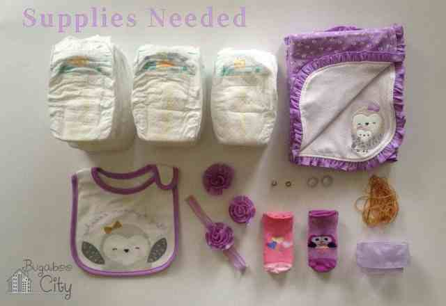 Supplies needed for DIY Owl Diaper Cake Tutorial