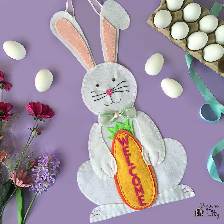 Felt Bunny Welcome Sign