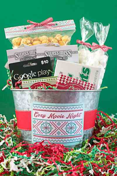 Cozy Movie Night Gift Bucket