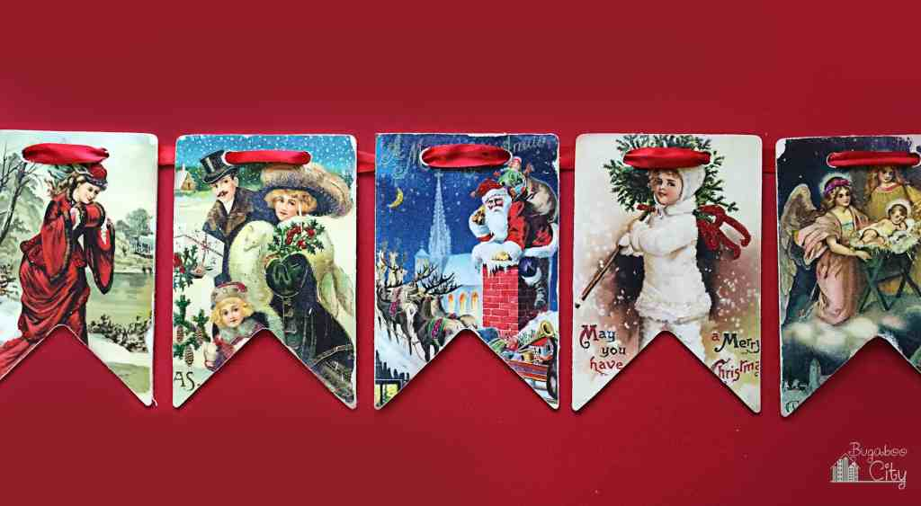 Vintage Christmas Wooden Banner BugabooCityImage