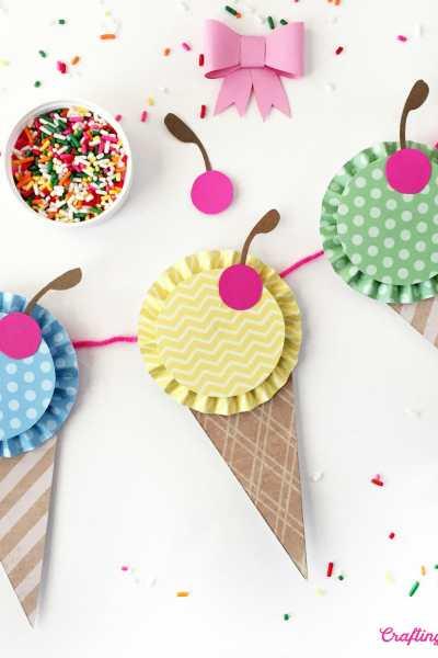 Paper Ice Cream Cone Banner