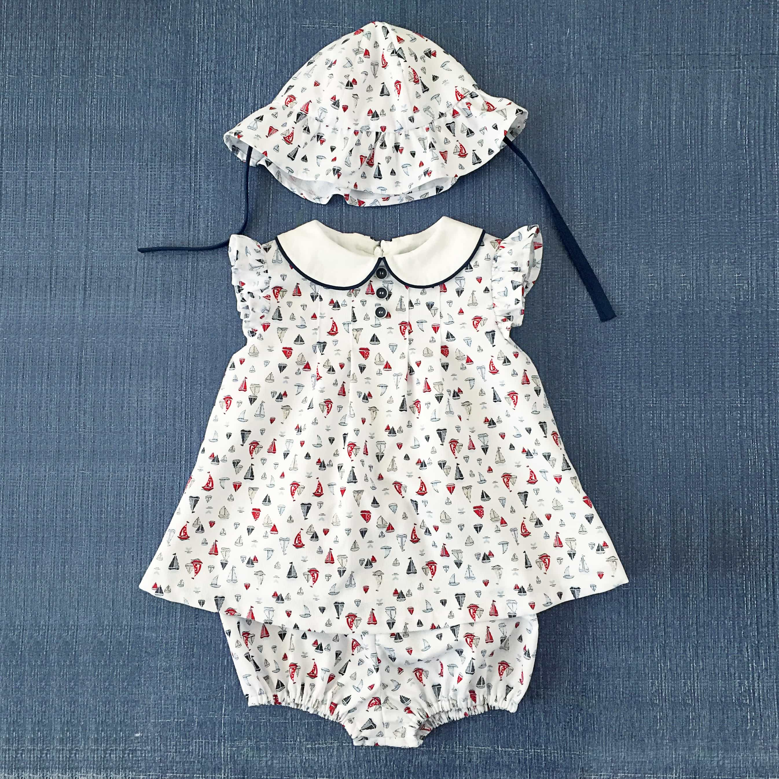 Nautical baby outfit with matching bloomers and bonnet