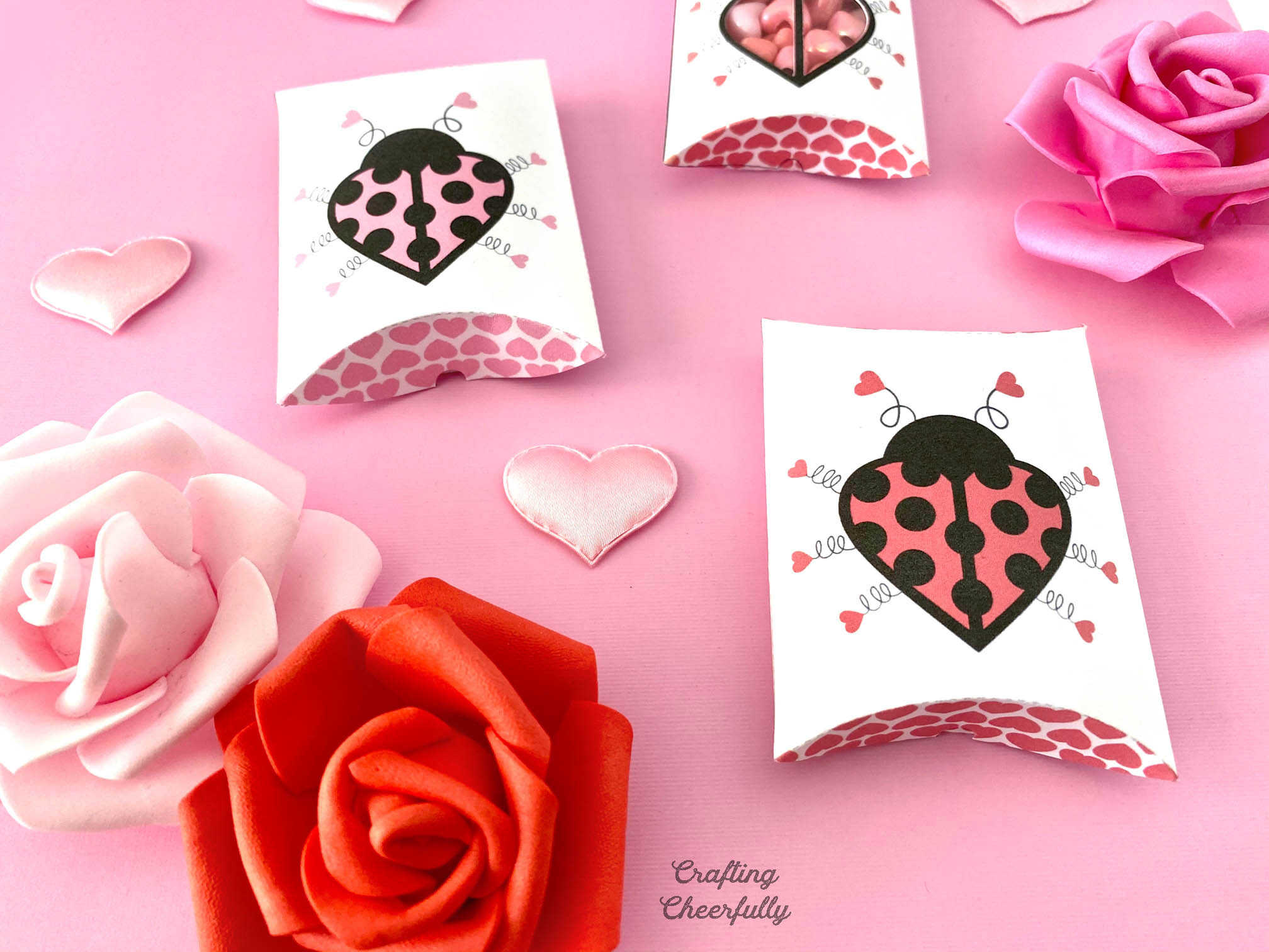 Valentine's Day pillow boxes with cute love bugs on them. Roses and hearts around them.