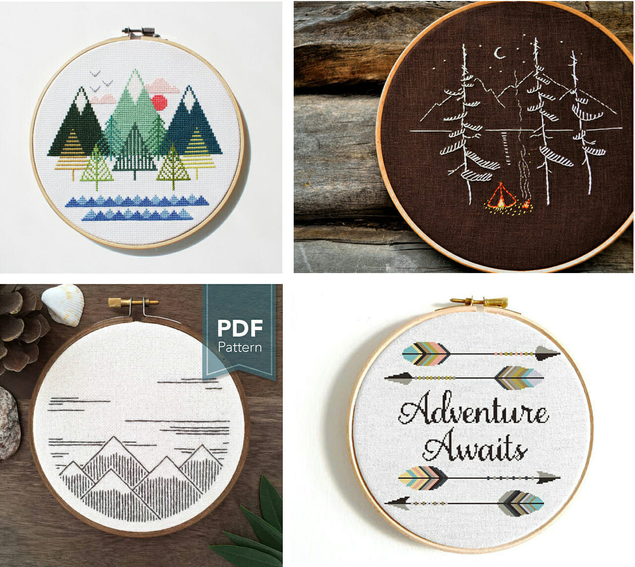 32 Hand Sewing Patterns Perfect for Kids' Rooms! Adventure Embroidery and Cross stitch hoops