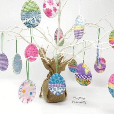DIY Easter Egg Ornaments Using Fabric Scraps