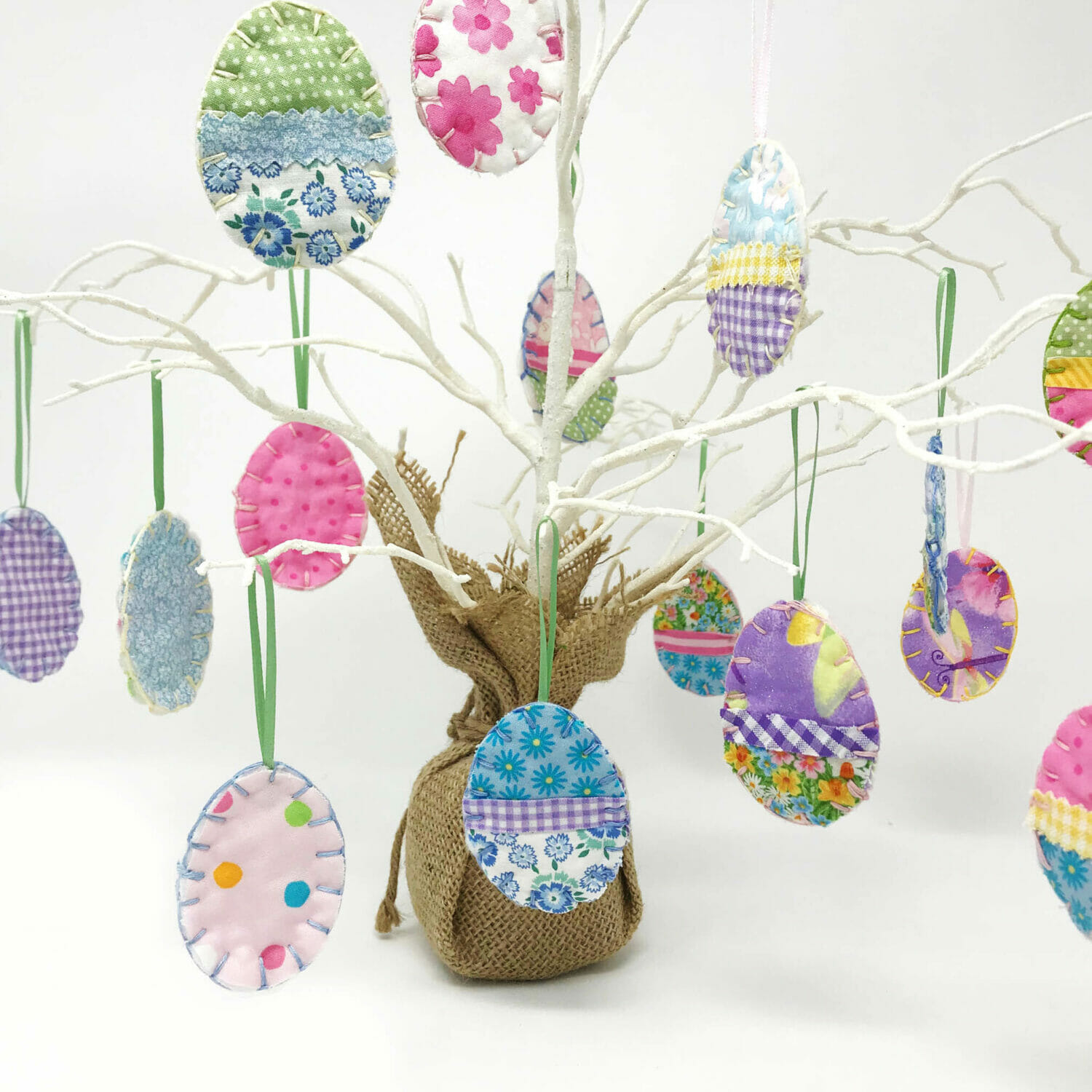 DIY Easter Egg Ornaments made from Fabric Scraps