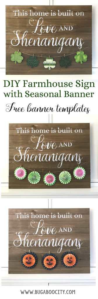 DIY Farmhouse Sign with Banner