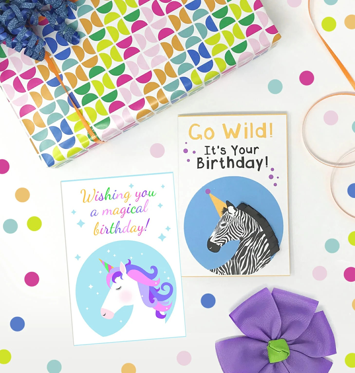 graphic relating to Unicorn Birthday Card Printable identified as Cost-free Printable Unicorn and Zebra Birthday Playing cards - Composing