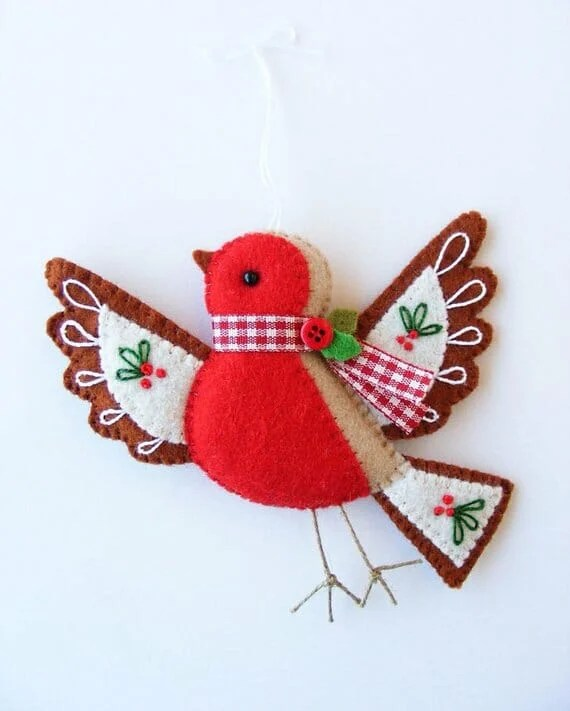 Flying Robin Christmas Ornament by Nuvolina Handmade