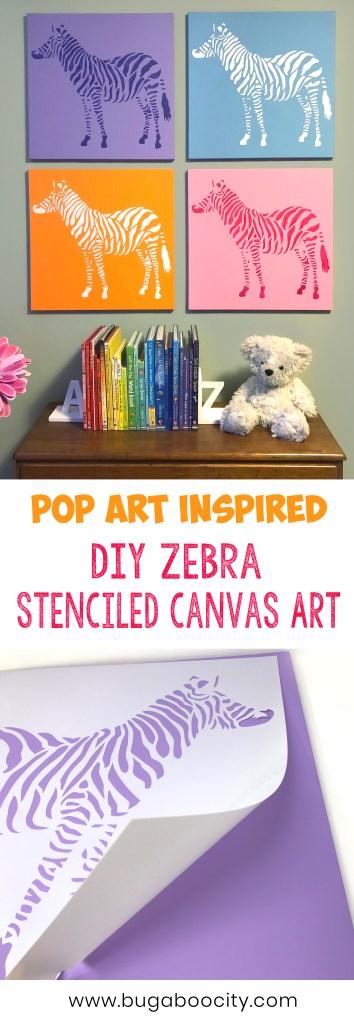 Pop Art Inspired - DIY Zebra Stenciled Canvas Art