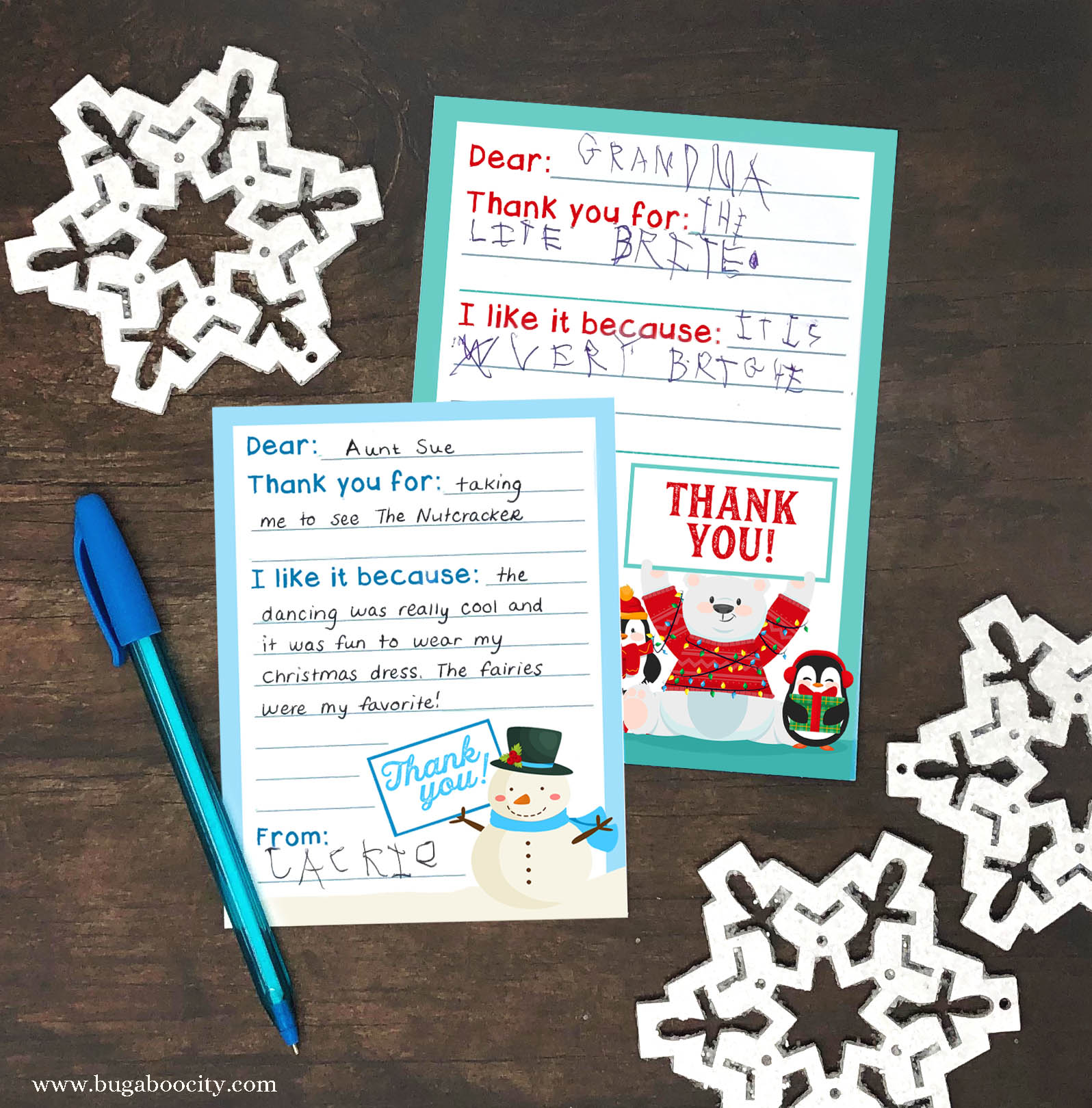 graphic about Christmas Thank You Cards Printable Free named Cost-free Printable Vacation Thank Your self Playing cards for Young children - Creating