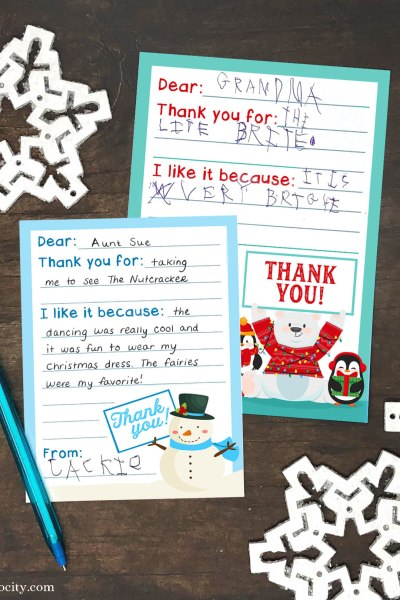 Free Printable Holiday Thank You Cards for Kids