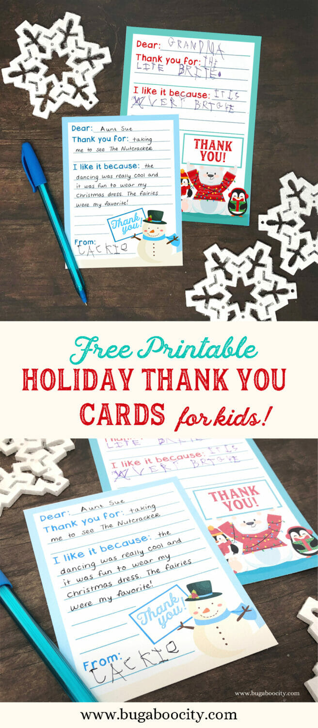 Free Printable Holiday Thank You Cards for Kids - in three sizes!