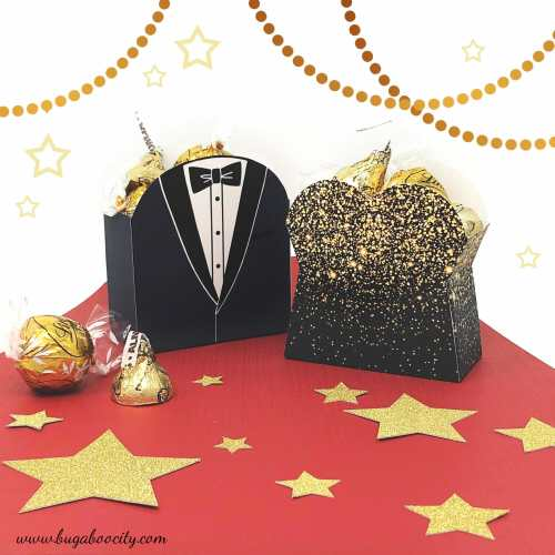 DIY Oscar Party Treat Boxes - Tuxedo and Glam Gown
