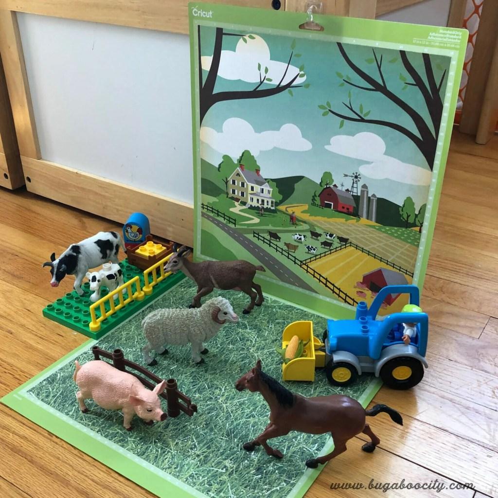 DIY Small World Play Mats made from recycled Cricut cutting mats