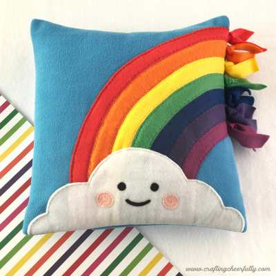 DIY Fleece Rainbow Pillow