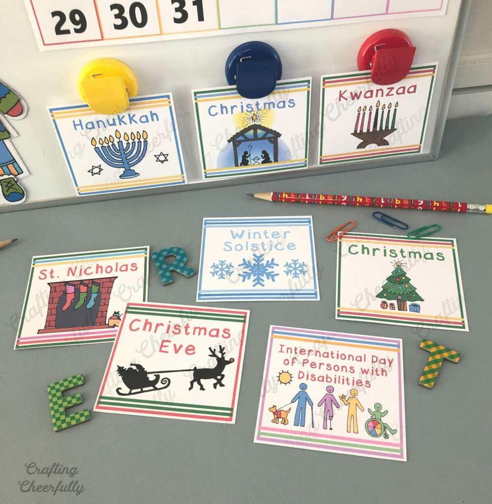 DIY Children's Calendar Holiday Calendar Cards