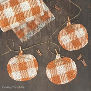 DIY Pumpkin Banner – with Buffalo Check Burlap