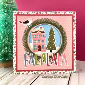 DIY Holiday Card with Embroidered Wreath