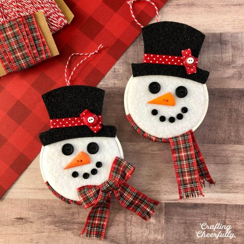 DIY Snowman Hoop Ornaments
