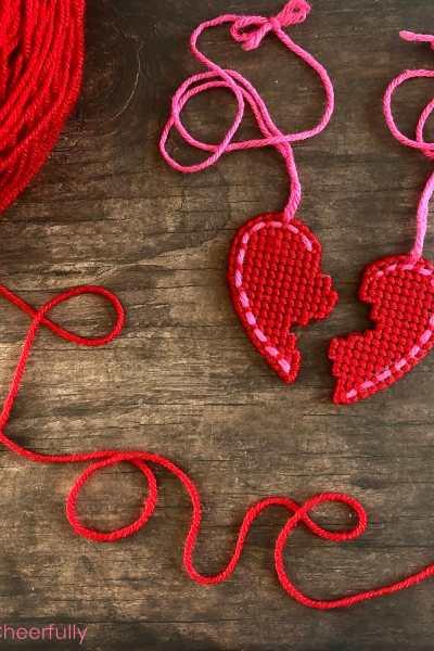 DIY Best Friend Necklace – Stitched Plastic Canvas