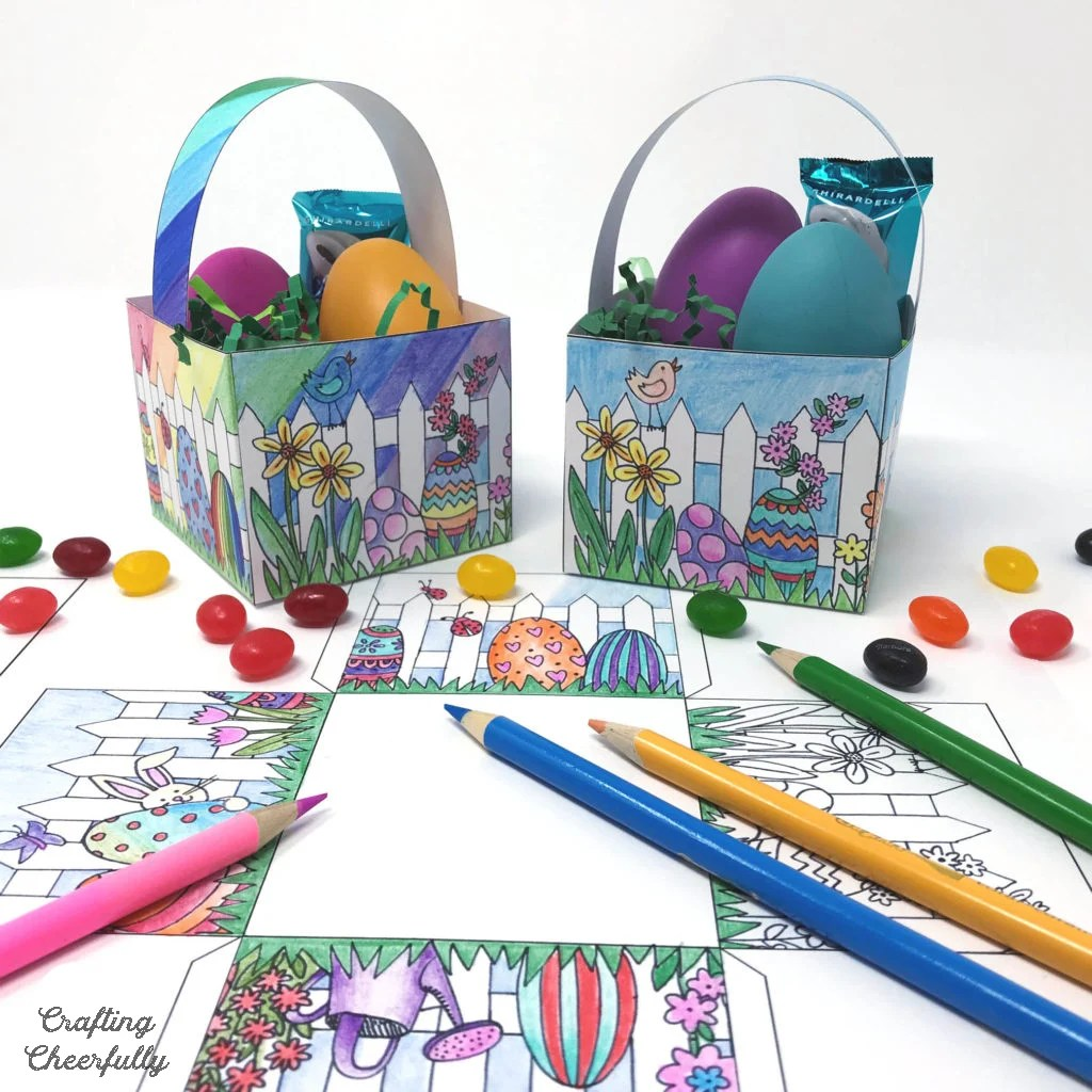 Free Printable Color Your Own Easter Baskets