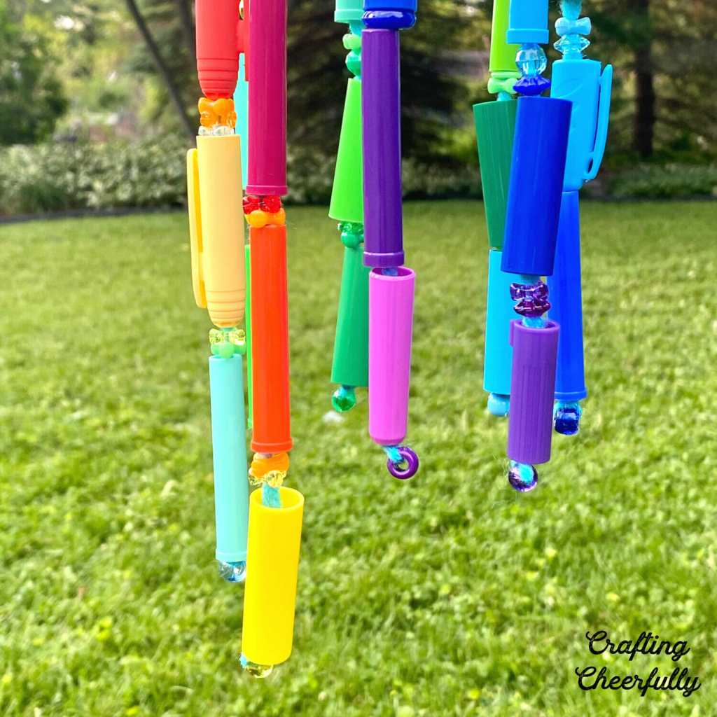 DIY Wind Chimes Made From Recycled Marker Caps!