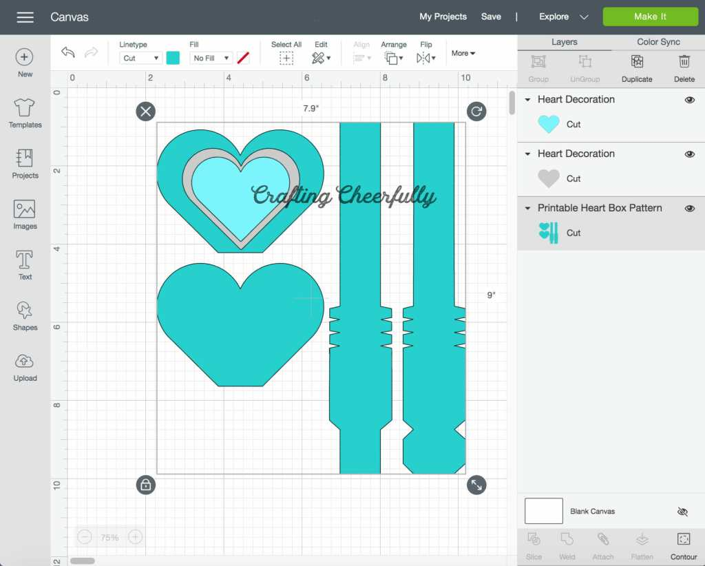 A screenshot of the heart box file in Cricut Design Space.