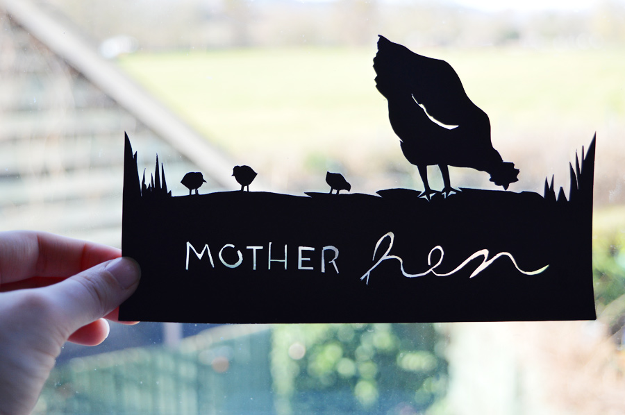 Mother Hen Paper Cut (Free Printable Silhouette)