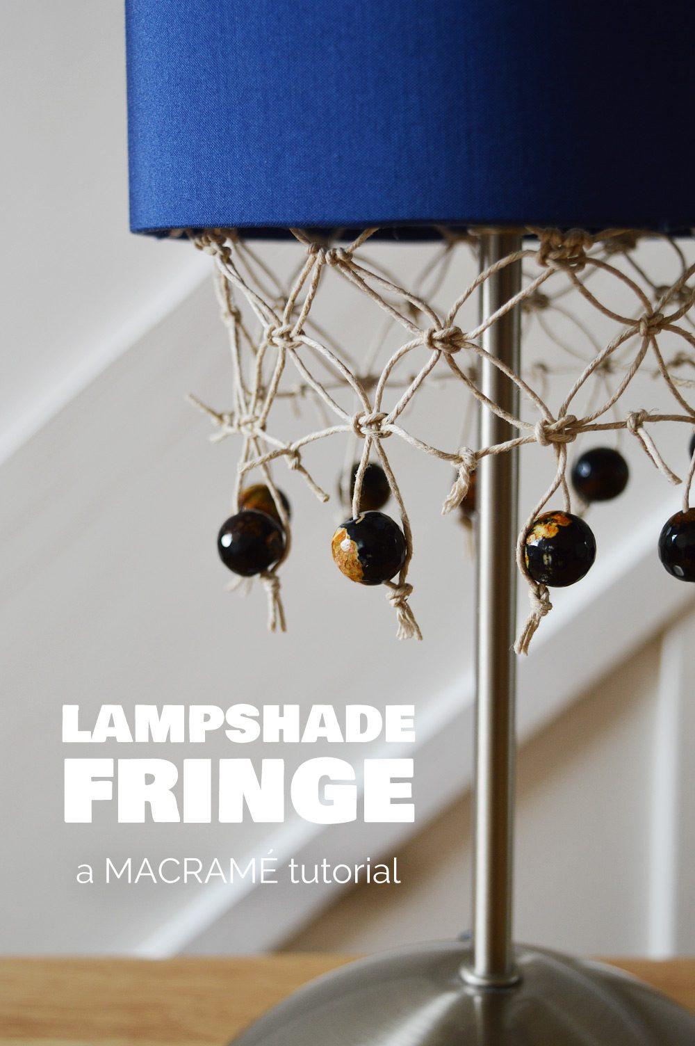 DIY macrame lampshade fringe