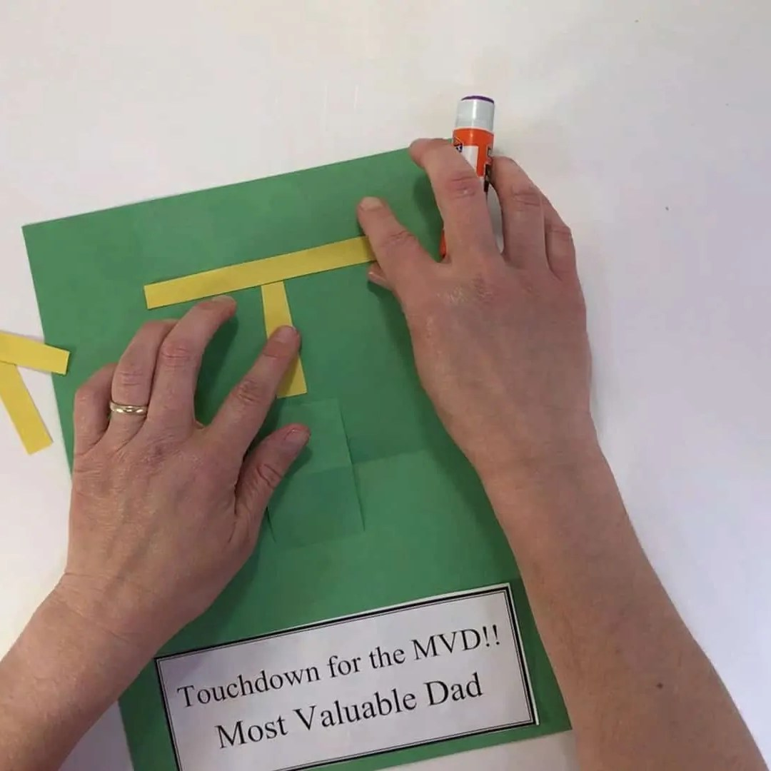 Fathers day football craft glue on goal post